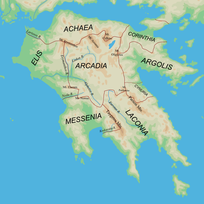 Map of Arcadia and surrounding regions